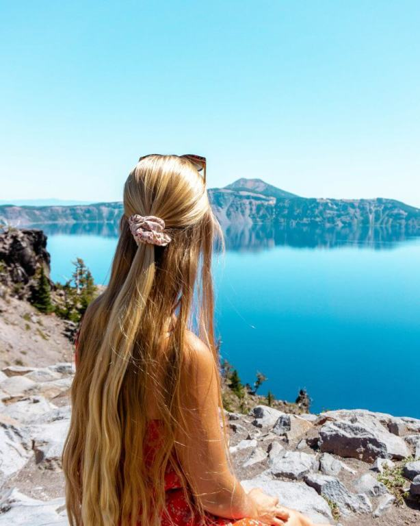 Jo admiring the views of Crater Lake.