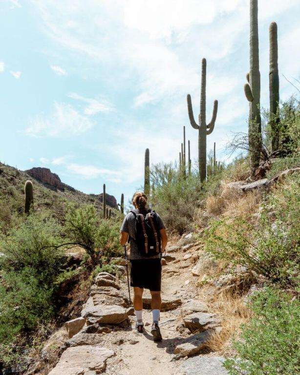 Dom hiking the 7 Falls train in Tucson.