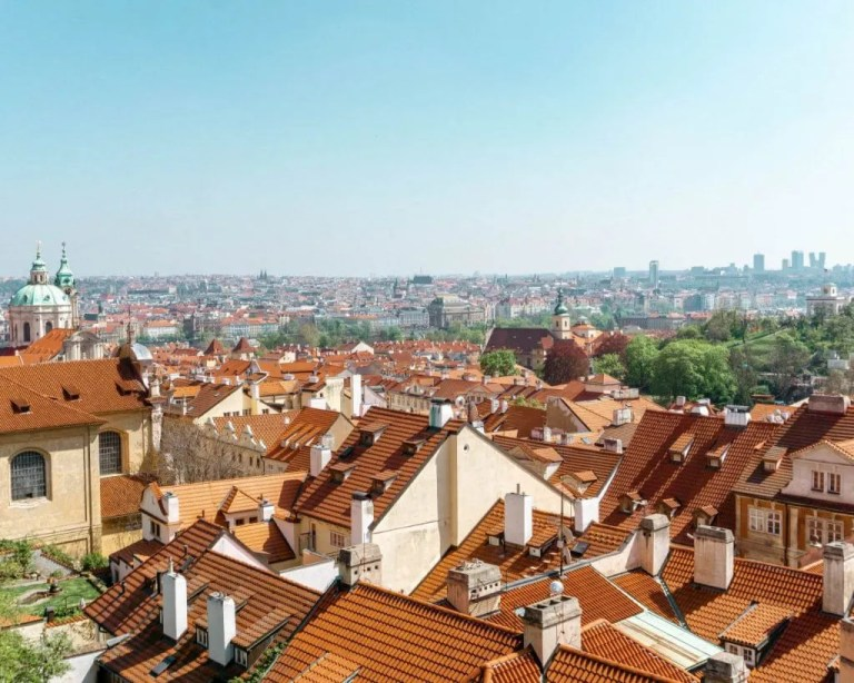 Photos of Prague rooftops.