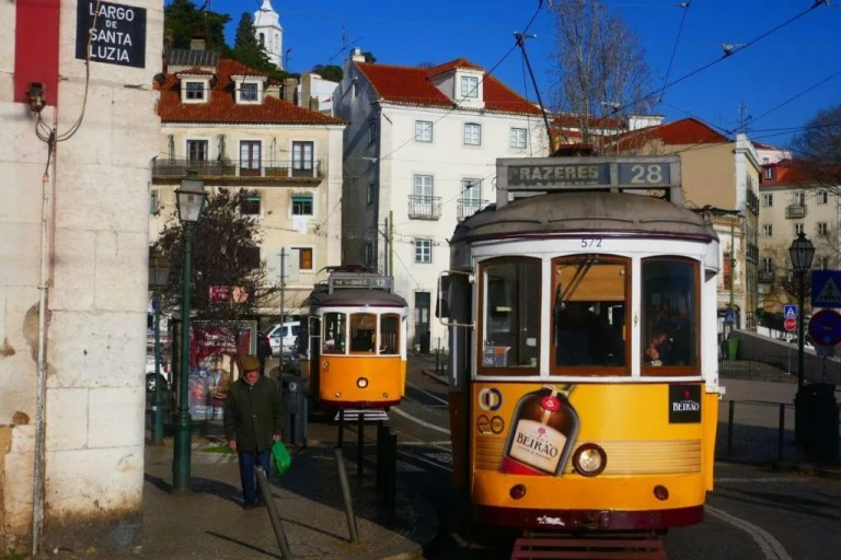 Rail cart in Lisbon, Portugal.