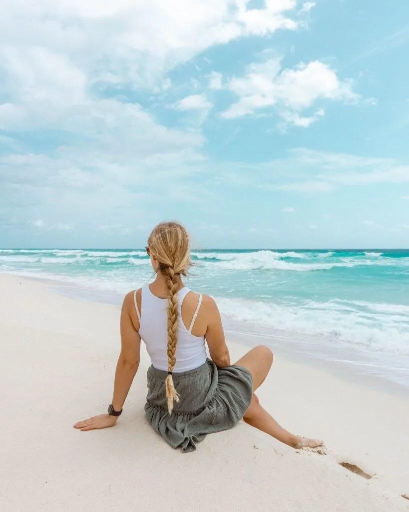 Jo enjoying a beautiful beach in Cozumel.