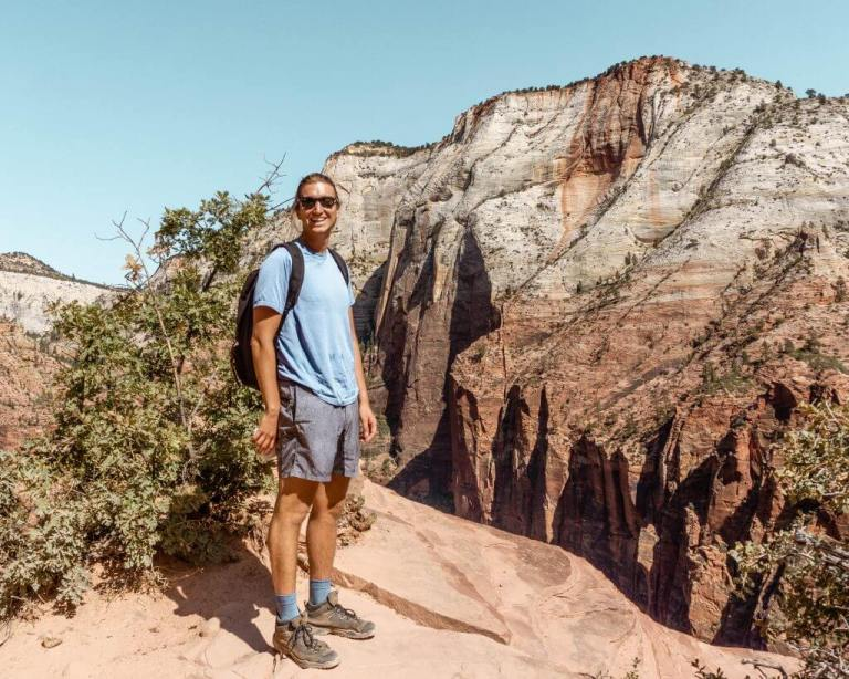 Hiking in Zion National Park in the summer.