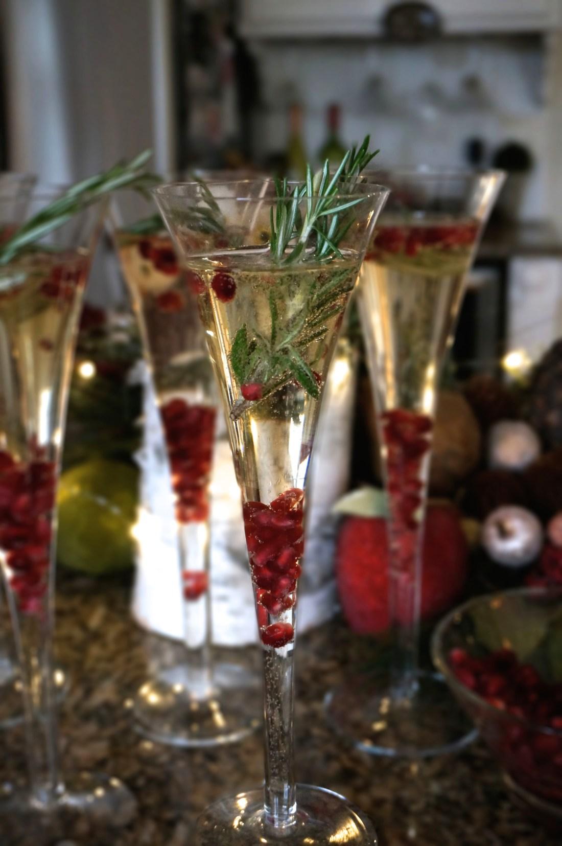 1 Festive Christmas Champagne Cocktail Recipe Pomegranate Rosemary
