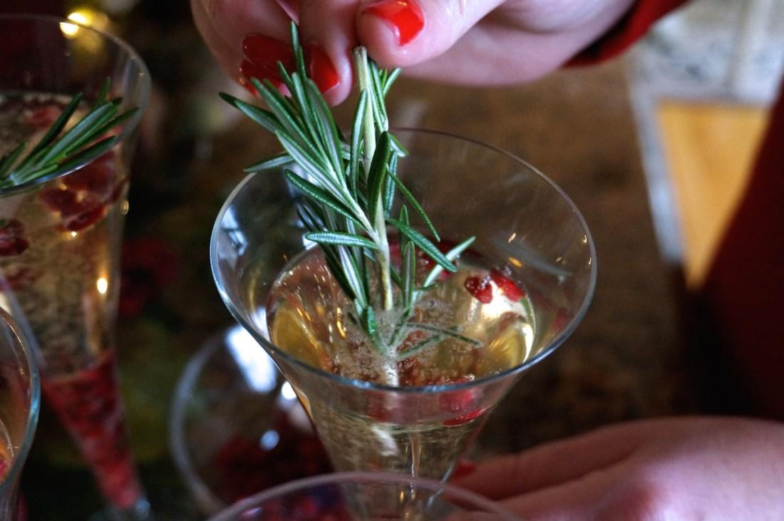 10 Festive Christmas Champagne Cocktail Recipe Pomegranate Rosemary