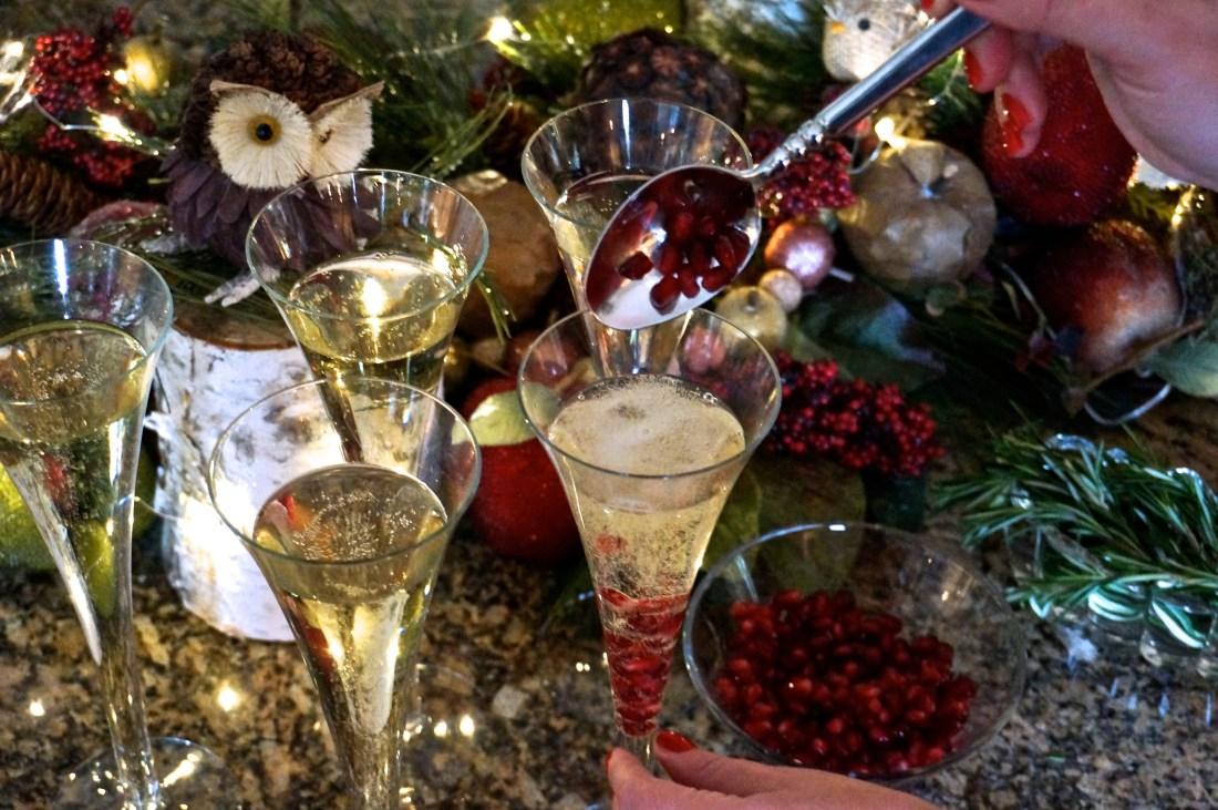 8 Festive Christmas Champagne Cocktail Recipe Pomegranate Rosemary2