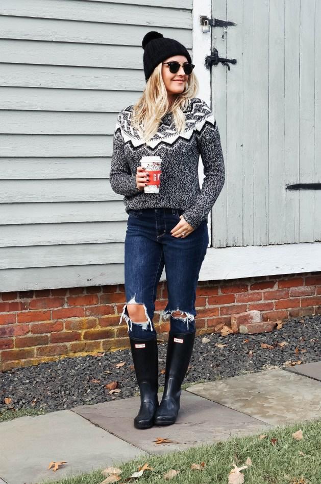 Fair Isle Sweater Outfit Idea
