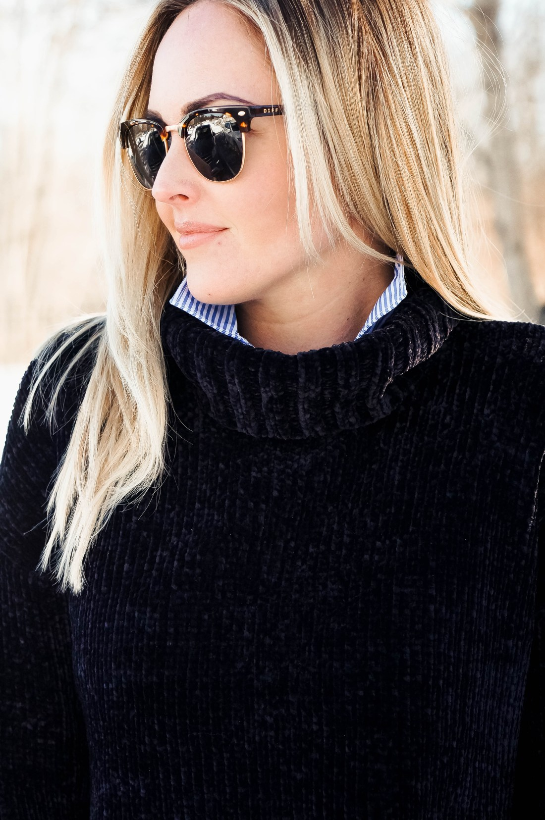 Styling Blue & White Stripes For Winter