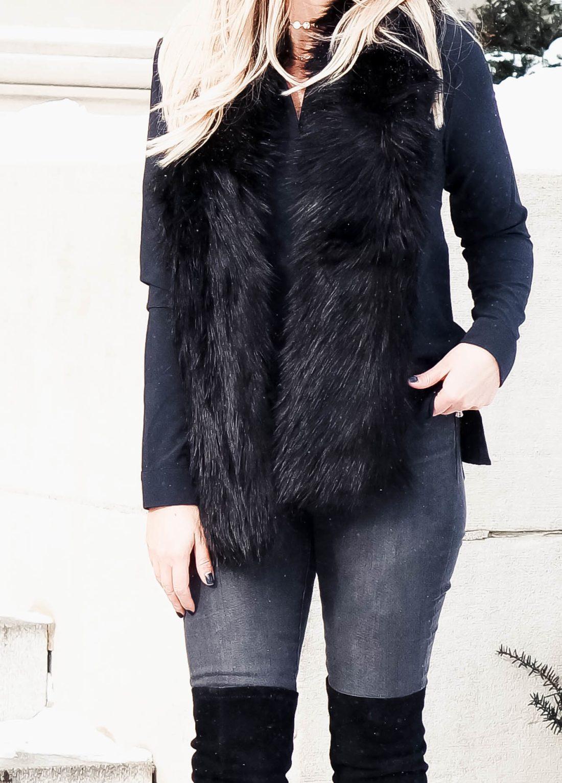 Black Fur Stole Outfit