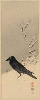 Secchū ashi ni karasu ( Blackbird near reeds in snow)
