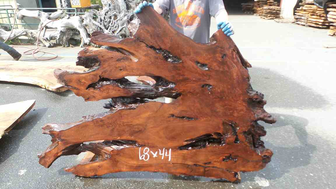 Unfinished Raw Wood Headboard - Red Burl Live Wood Slabs