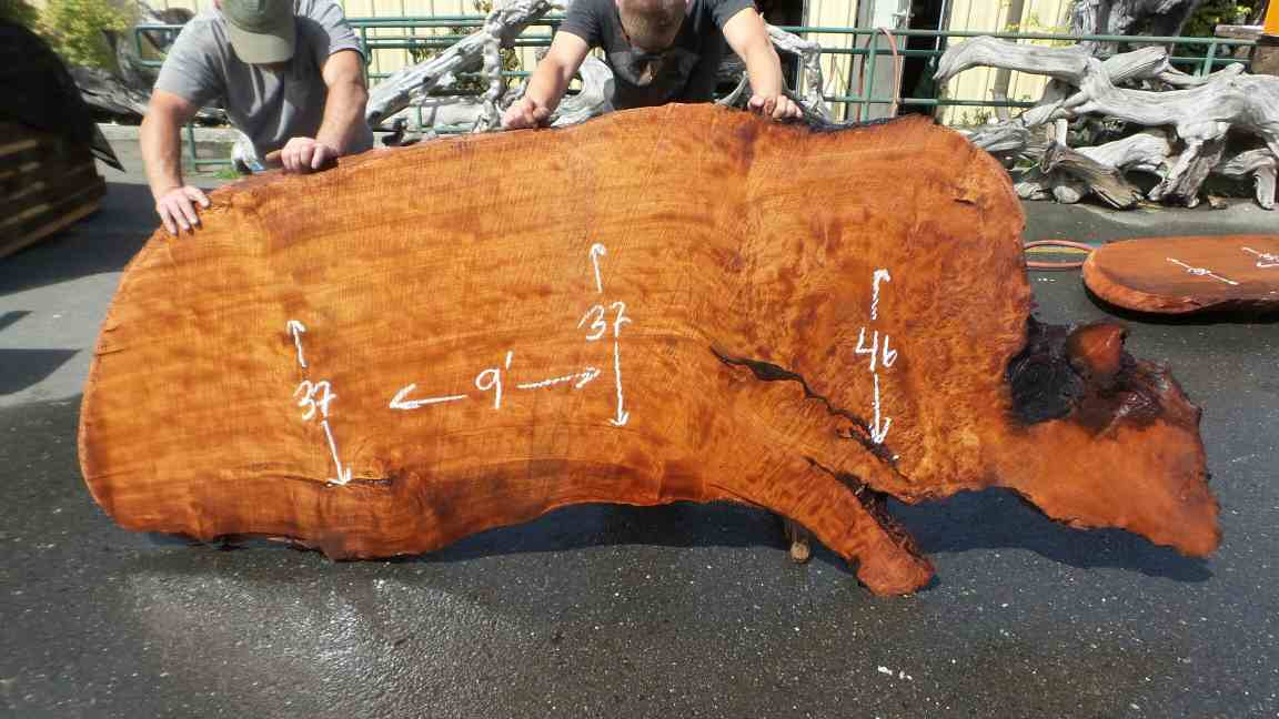Big Live Edge Executive Desk - Curl Figure Redwood Top