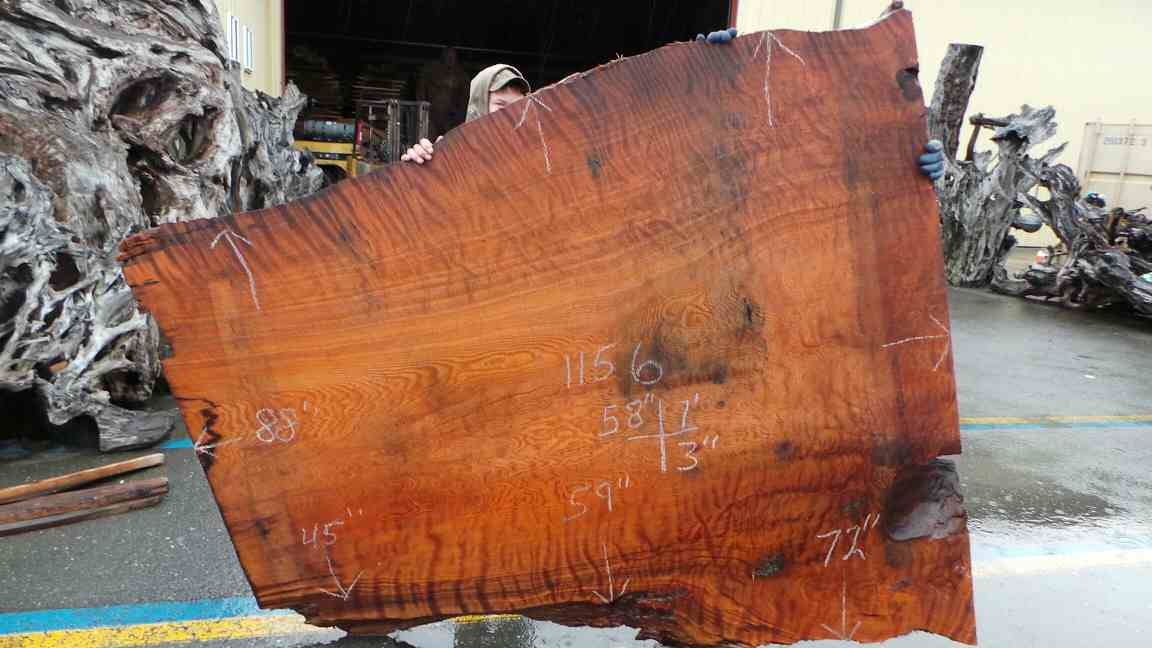 Mineral Stained Curly Redwood Burl Slab