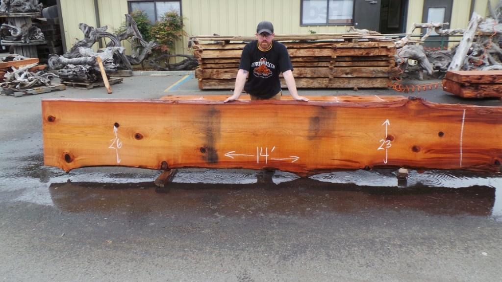 Commercial Wood Slab Bar Tops - Rustic Redwood Bartops and Wooden Stools