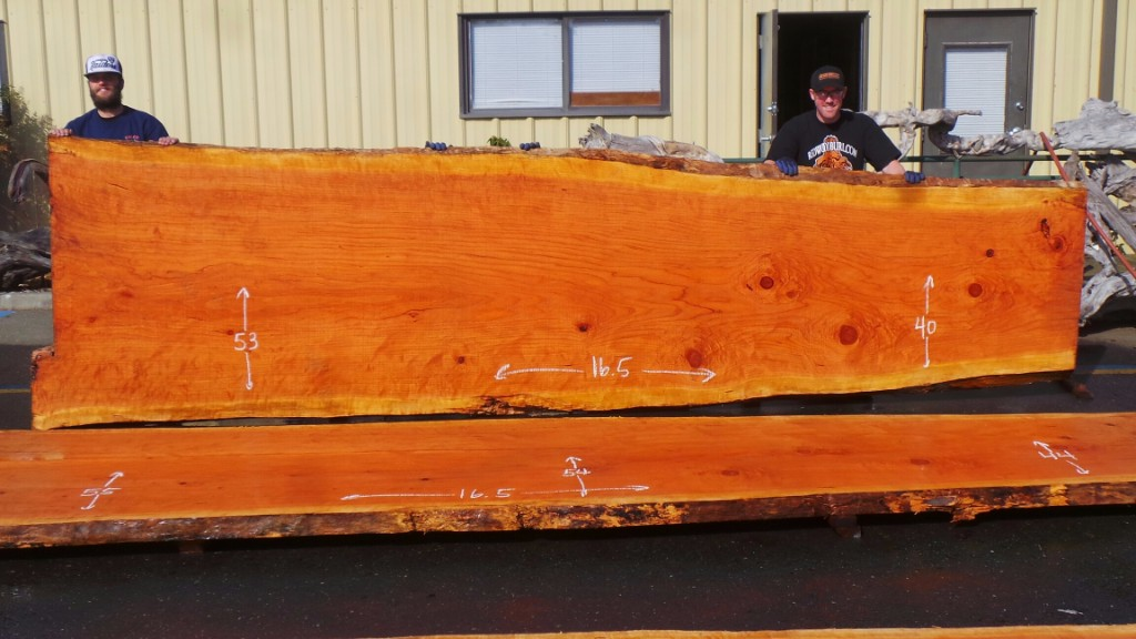 New Growth Redwood - Live Edge Conference Room Table Top Slab
