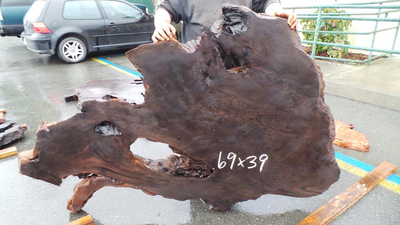 Redwood coffee table slab