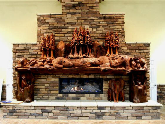 Fireplace mantel at 16' wide. Custom redwood carving by Steve Blanchard