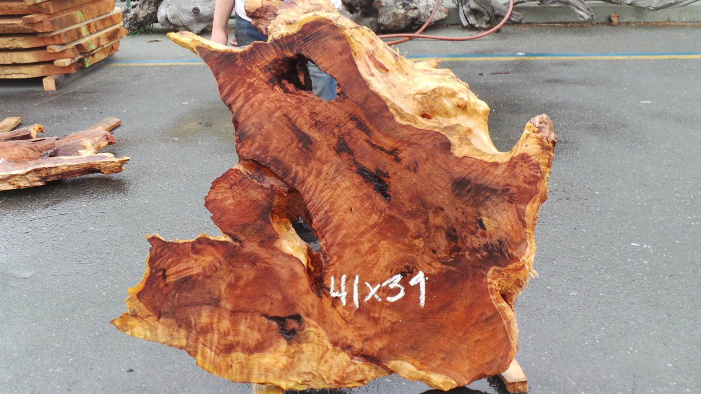 Second Growth Redwood Slab - Contrast Colors and Rustic Voids