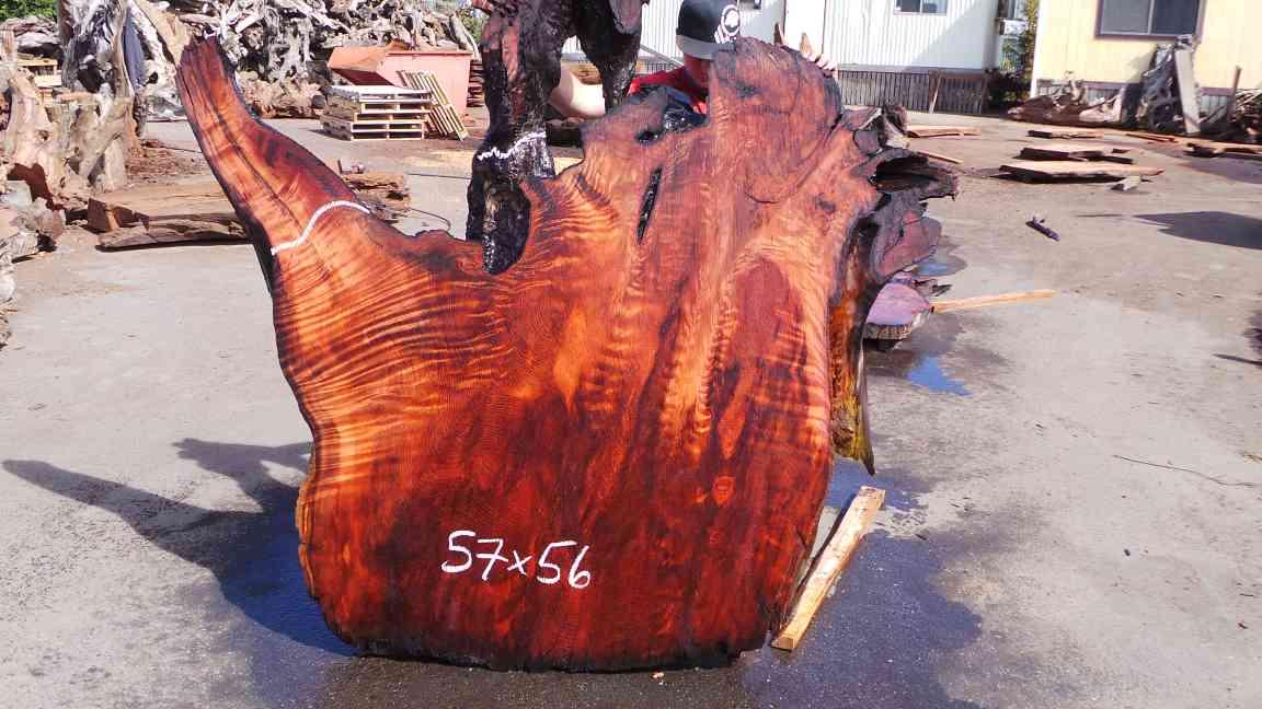 Burlwood slab - highly figured redwood for live edge table set