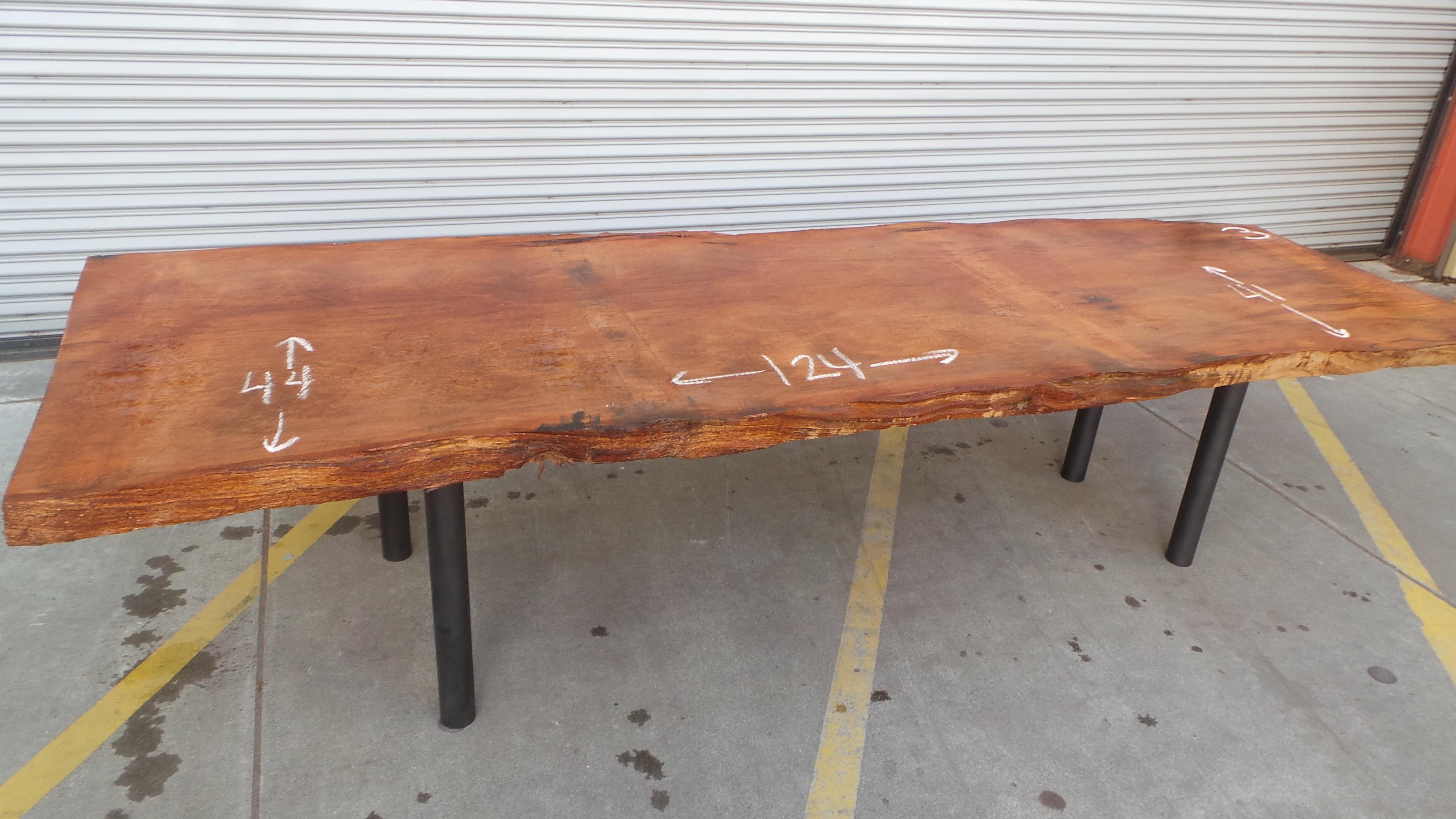 Live Edge Rustic Dining Table - Metal Legs Raw Redwood Top