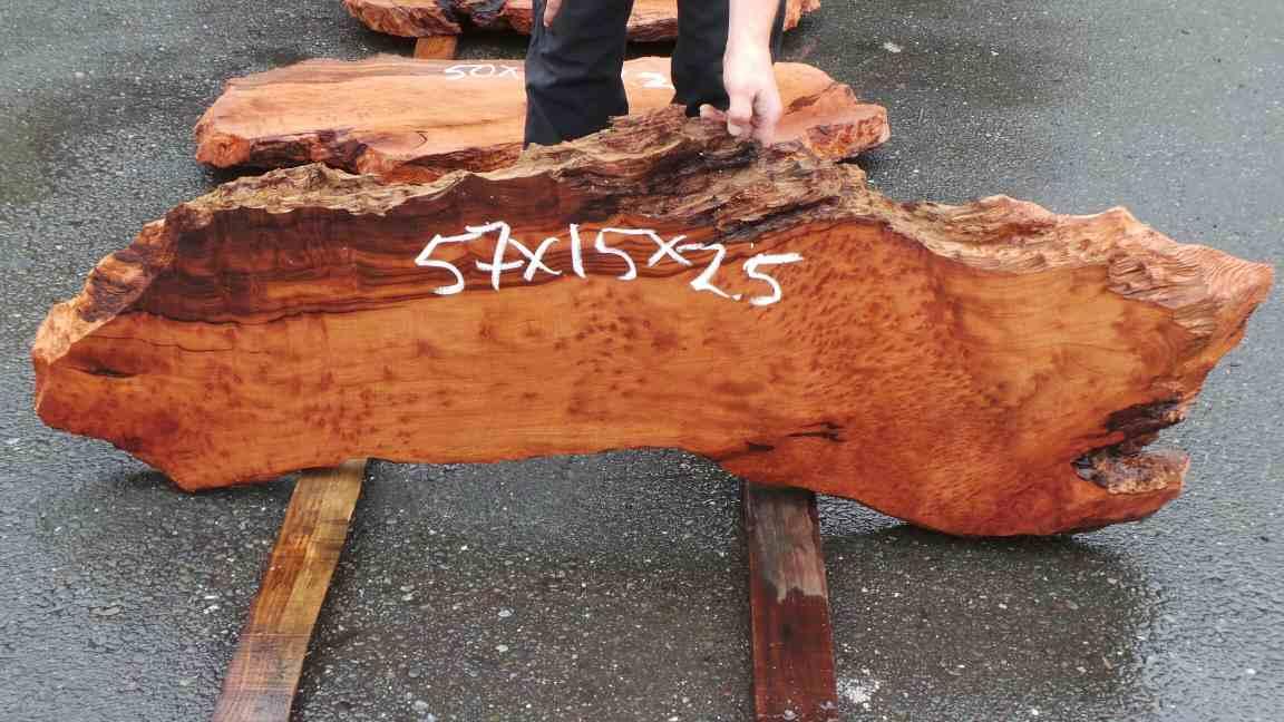 Redwood Long Slab for Custom Wooden Bench