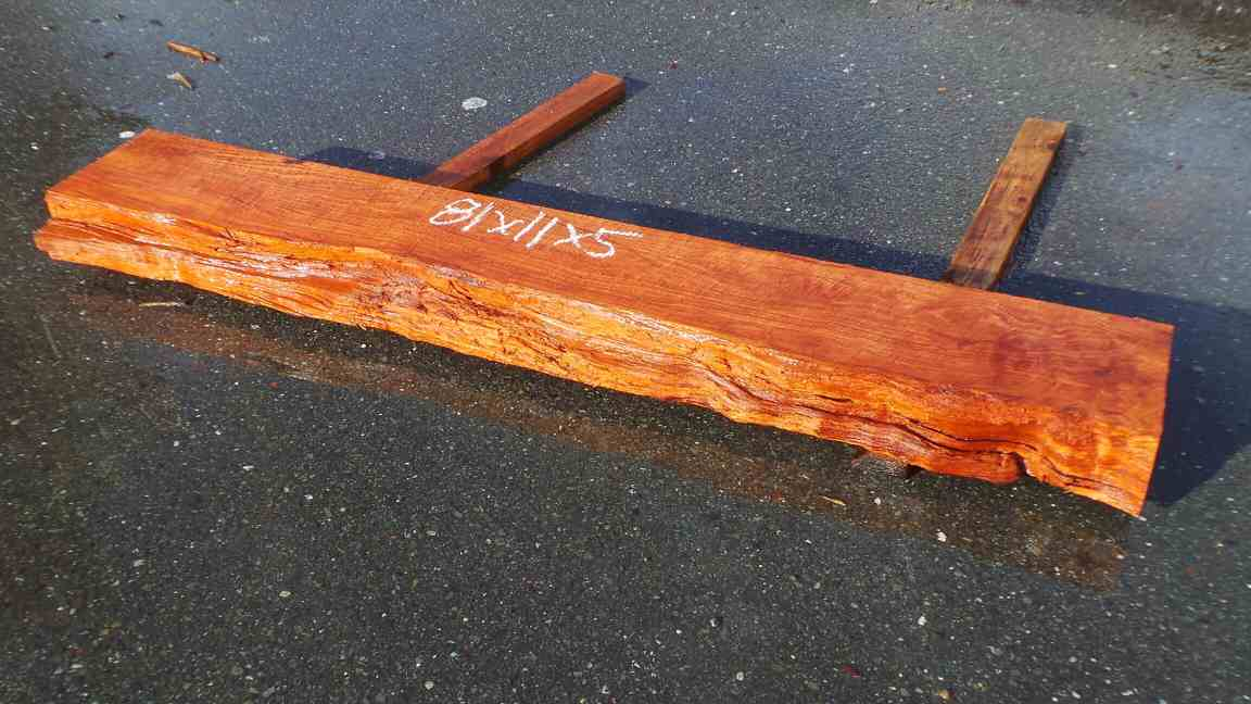 Solid wood fireplace mantel - redwood