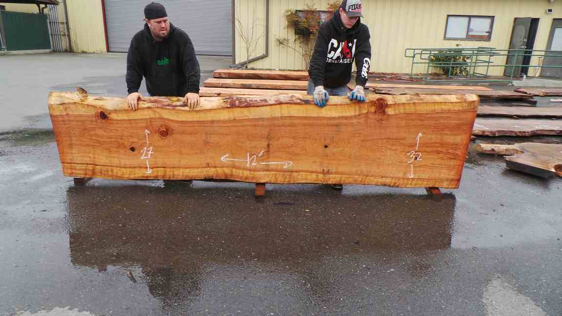 Second Growth Redwood Slab for Large Rustic Kitchen Island