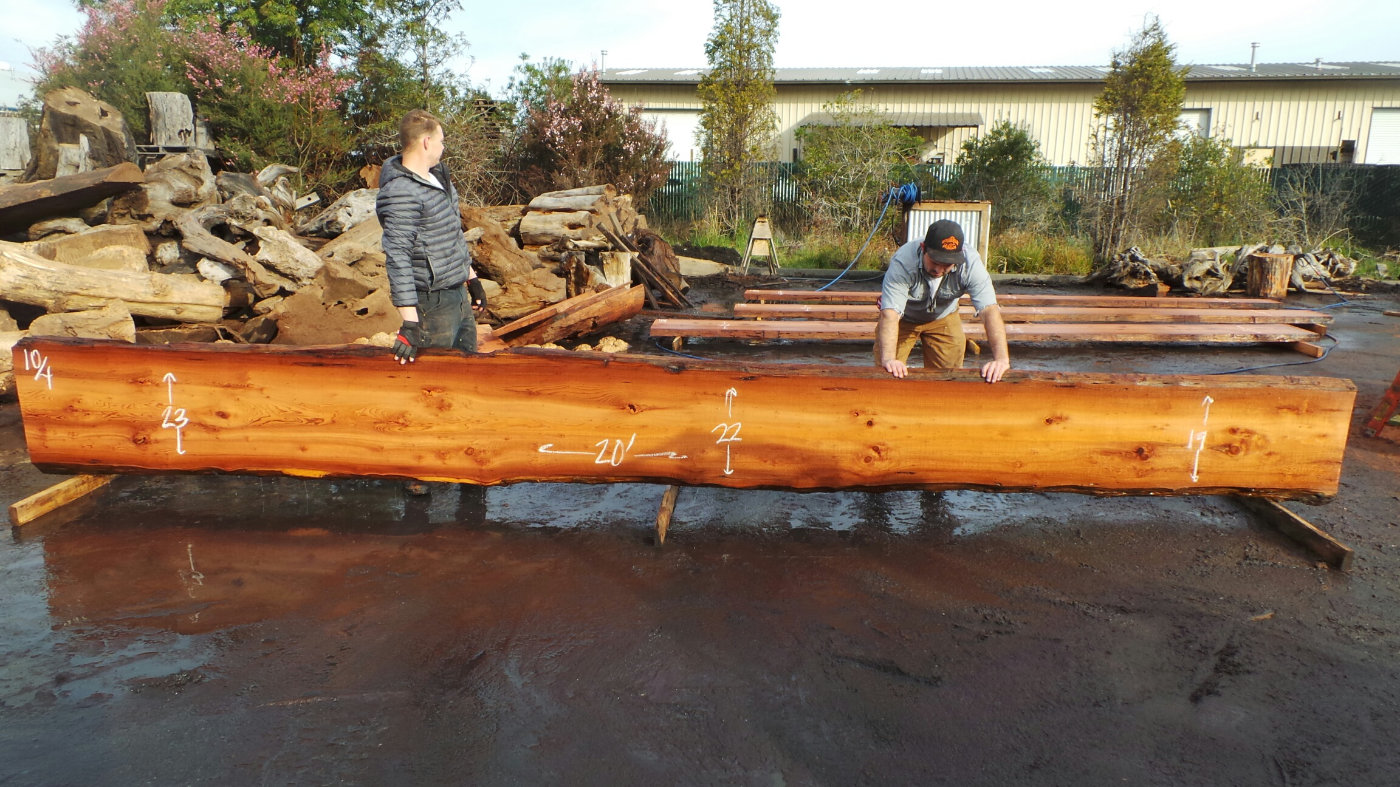 long narrow wood rail redwood slab