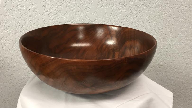 Glossy Finished Round Wood Fruit Bowl