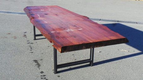 redwood dining table with industrial metal table legs (black)
