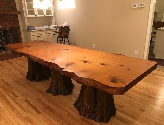 Real Tree Wood Pedestal Base for Dining Table
