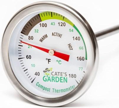 Cate's Garden Premium Stainless Steel Bimetal Thermometer redwormfarms.com