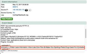 Security system blocked spam comment attempt to a WordPress site