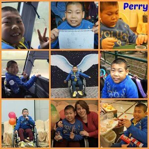 PD: A 9-photo collage of Perry doing various activities, including drawing, working on a project, spending time outdoors, & attending a party. He has shaved black hair & brown eyes, & is a wheelchair user.