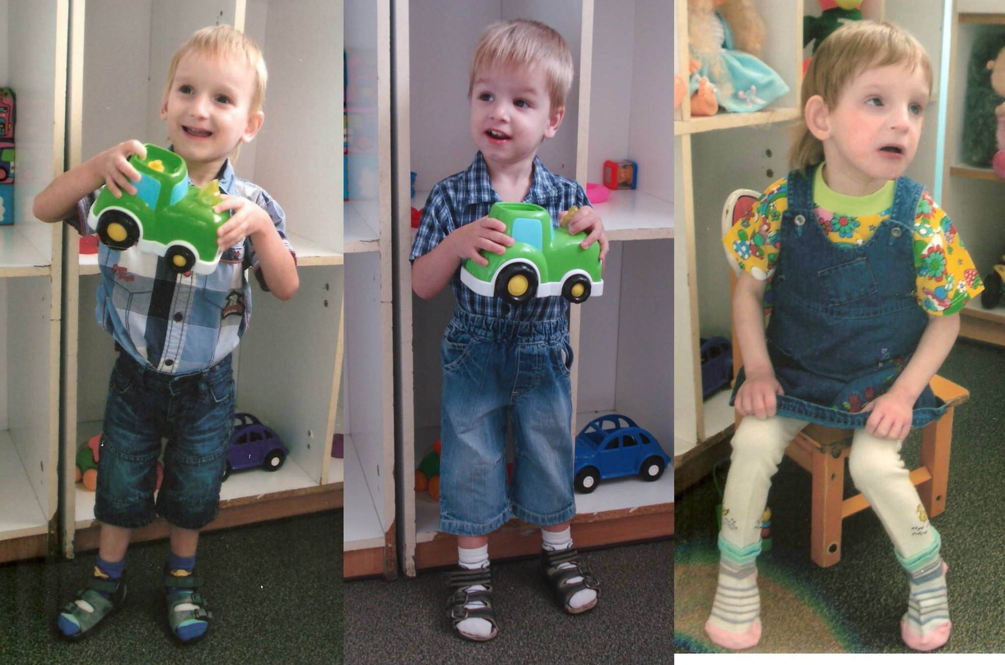 PD: Collage of 3 photos, l to r: Kyson holds up a toy car, wearing a blue plaid shirt & jean shorts; Karl is also holding a toy car, wearing a blue plaid shirt & jean shorts; Suzanne sits in a chair looking off-camera, wearing a jean overall dress, flowered t-shirt, & tights w/ socks. All 3 are beautiful, w/ dark eyes & blonde hair.
