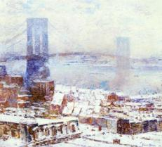 Brooklyn Bridge in Winter by Childe Hassam, 1904 (source: http://bit.ly/1dR6u9g)