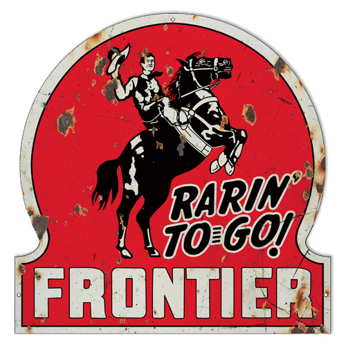 Distressed Frontier Motor Oil Laser Cut Out Reproduction