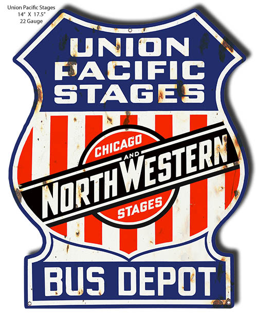 Union Pacific Stages Cut Out Reproduction Railroad Metal Sign 14x17 5