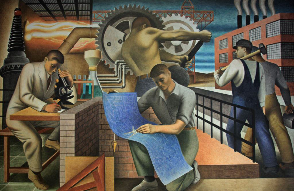 """Bustling with work and activity, """"The Wealth of the Nation"""" by Seymour Fogel is an interpretation of the theme of Social Security."""