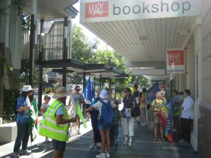 Mary Who Bookshop and supporters farewell a strong contingent leaving Townsville