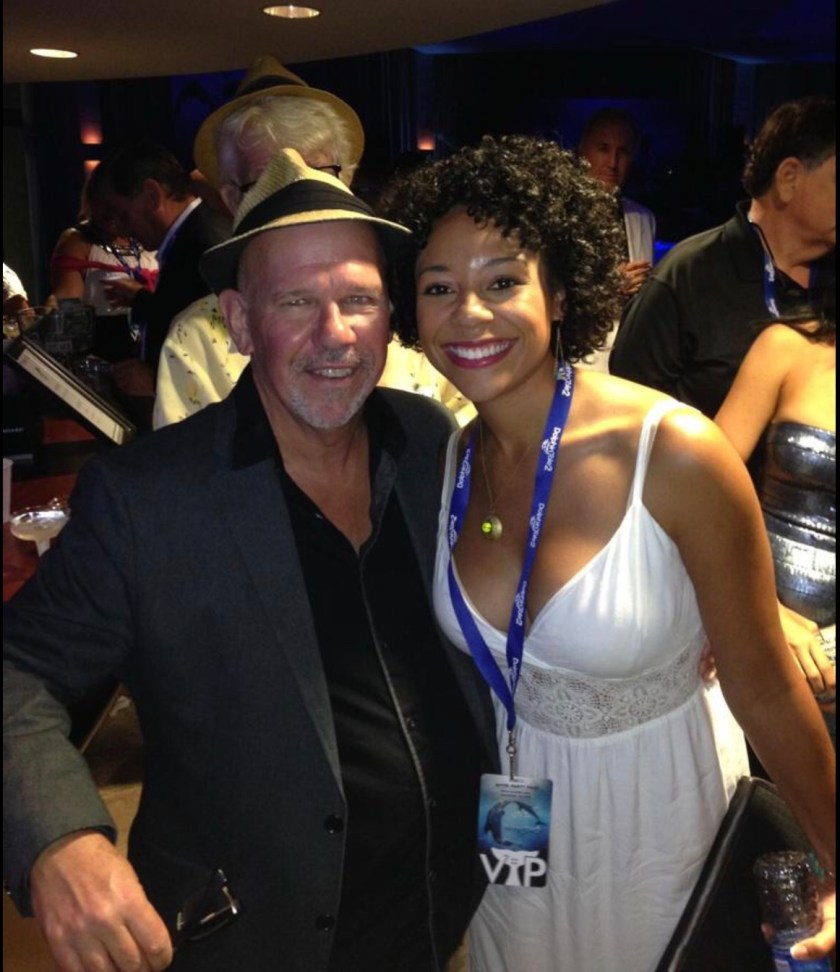 Photo of Tamara Austin at the Dolphin Tale 2 wrap party with the director Charles Martin Smith