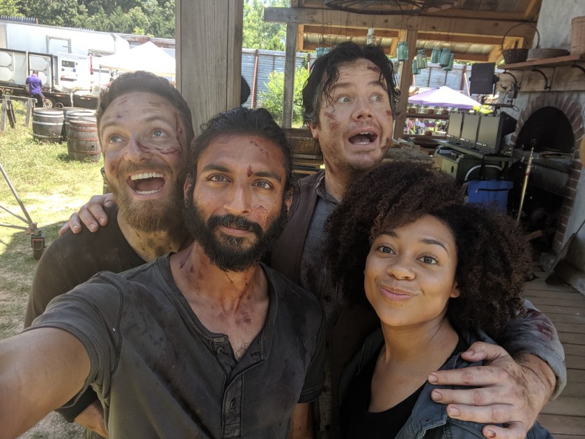 Photo of Tamara Austin behind the scenes of The Walking Dead