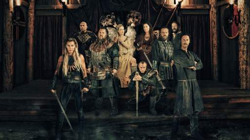 Image show cast of Norsemen in full costume