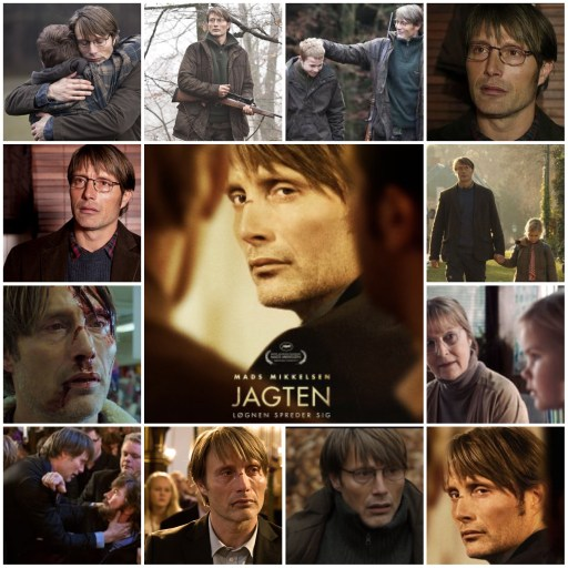 Photo montage showing the poster for Jagten (The Hunt) with Mads Mikkelsen Centre with other images from the film around it.