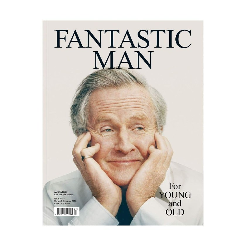 Front cover of magazine Fantastic Man with Alistair Findlay with hands either side of his face, smiling.