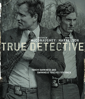 Image shows poster of True Detective S1 with Matthew McConaughy and Woody Harrelson relating to article on the opening credits.