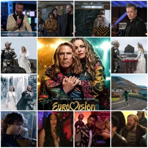 Photo montage of images from Eurovision Song Contest: The Story of Fire Saga.