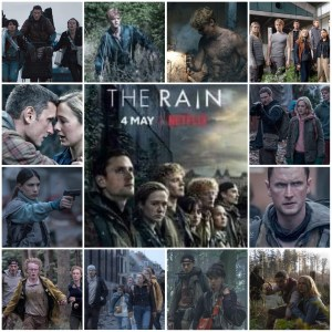 Image shows a montage from The Rain with scenes from the show. Centre is the Netflix poster for the show.