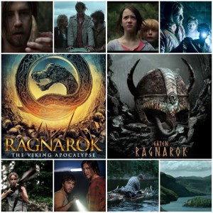 Image shows a montage of scenes from Ragnarok: The Viking Apocalypse. Two central photos are the English and Norwegian theatrical posters for the film.