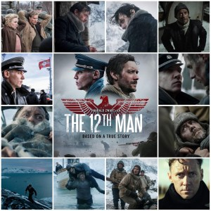 Image shows montage of scenes from The 12th Man. Poster for the movie is centre.