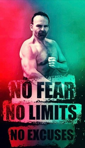 Photo shows red and green image of Alex Ziwak in martial arts pose and words: NO FEAR NO LIMITS NO EXCUSES placed vertically down the poster.